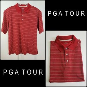 PGA Tour Men Short Sleeve Pinstripe Polo Shirt